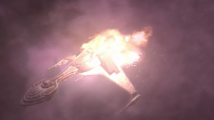 The klingons follow Enterprise into the edge of the expanse, but Enterprise does that thing where you fly into a dense cloud and then you're behind the enemy