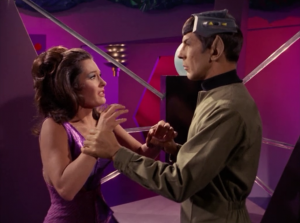 One of the all time lame showdowns: this space lady versus Spock without a brain