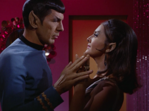 Spock and the Romulan commander have a thing goin