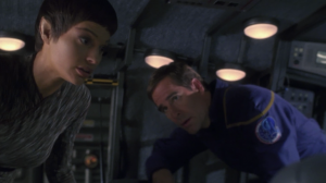 "T'Pol says it's against regulation for the captain to go somewhere alone, so she comes. Archer should have said ""Trip wanted to go, I guess I'll bring him,"" but I guess that wouldn't work because he needs to tell the story of his friend to someone who doesn't know it"