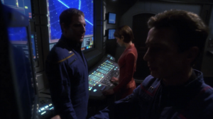 Enterprise has a new command room. In some obvious exposition, Archer explains the purpose of the room in detail in order to point out to Reed that it isn't working.