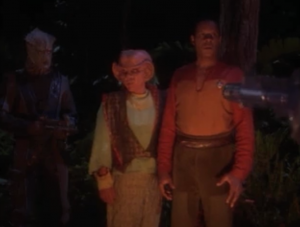 Then the Jem'Hadar show up and capture Quark, Sisko, and the lady