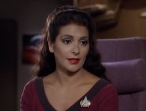 Everyone gets a much better costume at the start of season 3 except Troi. She has to wait until season 6