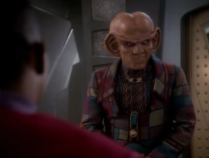 Quark gets to come one the mission too, because he's the only one that has some contacts in the Gamma quadrant. I kept waiting to see the real reason the writers wanted his character to go, but he basically just helps with the contacts