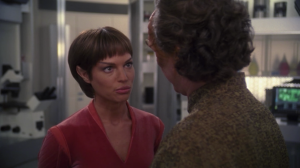 Phlox tells T'Pol that she needs to help Trip with her Vulcan-massage tricks because he's feeling depressed and can't sleep