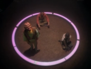 You know how when you use chalk to draw a circle around an ant, they don't want to cross through. I think this is kind of like that. The lady says it might kill them, but I don't know, I think it's just lights on the ground