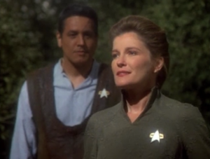 "Before Voyager leaves communication range Janeway gives a farewell message to the crew. I guess Chakotay doesn't get to say goodbye. She could've at least added at the end that ""Chakotay says bye too"""