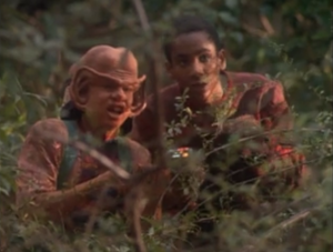 Meanwhile, Jake and Nog make dumb faces in the bushes