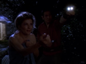 Janeway finds a monkey and every time she talks to it she puts on a creepy voice