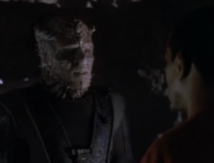 The Jem'Hadar guy seems like he's been watching DS9. He knows about the Bajorans and Cardassians. He wished that he could've met a Klingon instead of a human and ferengi