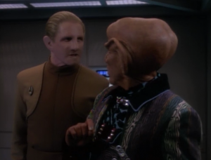 At first I though I might be imagining that Odo was a lot grouchier, but now he's growling at Quark. He's definitely a lot grouchier
