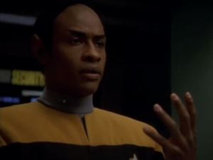 The camera is zooming in on Tuvok! That means this episode is going to be about him!