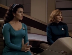 Troi has different clothes and Crusher has a seat on the bridge. Was that there before?