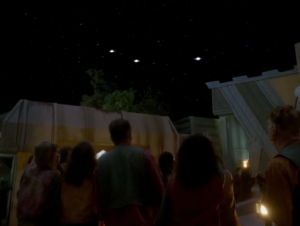 "So Voyager plays along with the song of the sages, and even gives the illusion of three new stars, like what are mentioned in the song. It's a little weird watching this episode after just watching ""Who Watches the Watchers"" from TNG"