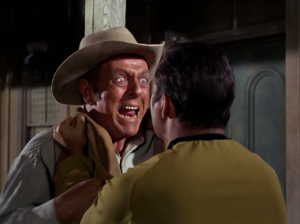 Kirk tries to reason with the sheriff, but that also doesn't go so well