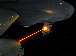 Enterprise tries to shoot the asteroid but it doesn't really work. They try so hard that everything on the ship breaks. Defeated by a rock