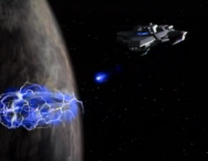 The warship comes back and it's a lot more powerful. This time Enterprise runs away