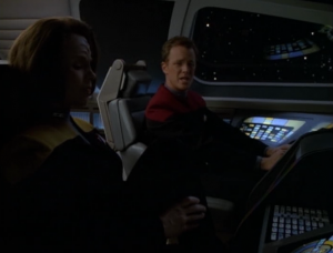 Paris kind of asks B'Elanna on a date. She says no