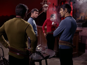 Bones and Spock make a gas grenade. They decide to test it on Scotty, but it doesn't work