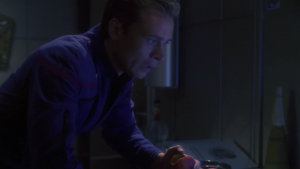 They need some of T'Pol's magic immunities so Trip runs and gets a peach that she took one bite of before putting it away