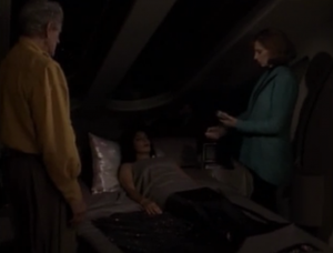 It turns out he was making Troi crazy because she would have figured him out. I think he's giving her a lot of credit