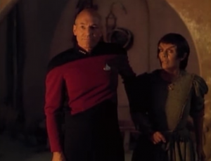 It's cool how Picard is willing to die to prove he's not a god, but the guy actually shoots him, and then Crusher saves Picard. You would think this might convince him that Picard really is a god.