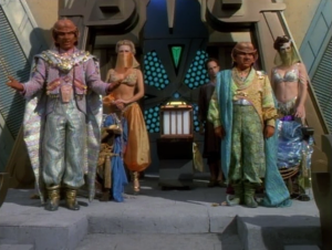 "Voyager encounters the ferengi from that one episode of TNG. They convince a ""bronze age"" society that they're gods"
