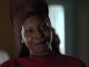 Geordi goes to Guinan for advice on women. She says she likes bald men
