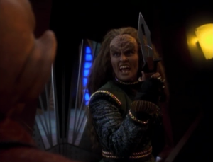 Then the Klingon's widow comes to visit