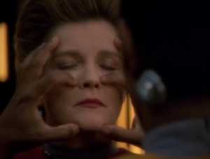 The repressed memory is causing serious damage to Tuvok, so he melds with Janeway so she can help him sort through his memories