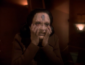 Then Kira is taken and turned into a Cardassian. She doesn't like it