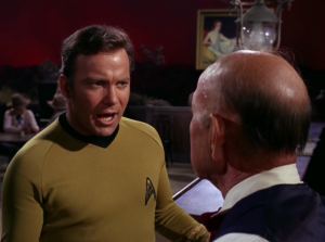 Kirk tries to tell everyone that he's a spaceman, but they just act like he's joking. It actually gets annoying how many times they try to tell people who they are, only to be responded to by thinking it's a joke