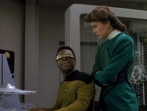 Several times during this episode Geordi tells a joke when either no one is around that will understand the joke, or no one is around at all.