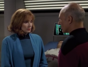 Picard tells Crusher to do that memory wipe thing that Pulaski did that one time. Cruser already starts making excuses about his species being different