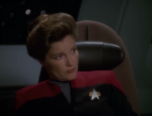 "And when Tuvok points out that violating their space is against federation rules, Janeways gives the ""we're far away from federation space"" line, and blows it off."