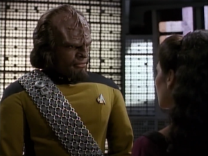 Worf is frustrated by the death being senseless. He identifies with the boy because he was an orphan also