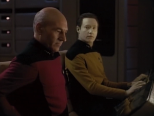 They need to shut everything down except two thrusters and steer clear of the debris. Picard does it!