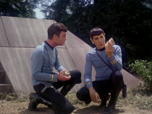 Spock explains that they need to deflect the asteroid before it gets too close, first in a perfectly understandable way, and then again exactly the same way but while holding rocks. Bones finally understands and they take off