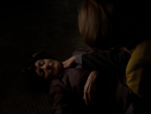 The lady dies, and B'Elanna thinks she was killed by one of her species who didn't want the truth exposed