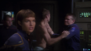 In the teaser T'Pol is captain, and Archer isn't wearing his clothes