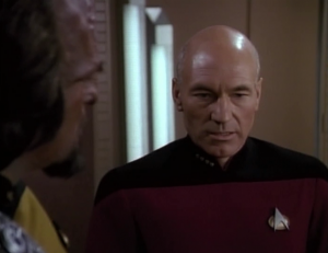 Worf still doesn't want to help the Romulan so Picard gives him a talk