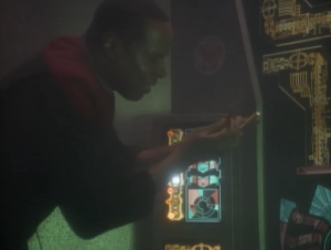 Eventually Sisko crawls through some green fire and puts some tubes in slots and everything is fixed