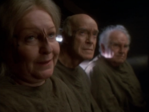 Janeway goes back to see the old people. I guess they were just screw'n with her with all that ritual stuff. They say just go to the death tunnel again. Oh, and she has to really believe the spirits will save Kes and then it will happen