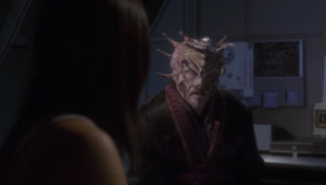 The alien appears to Hoshi again, and gives her coordinates to a Xindi colony