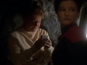 Janeway is going to go through their ritual to talk to the spirits. She's heard that some of them can survive going through the death tunnel, and she wants to figure out how