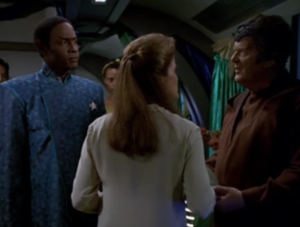 We learn that these aliens can telepathically share their memories and knowledge to other people. I'm glad this episode doesn't prolong the mystery of what's happening to B'Elanna