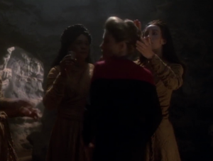 I think it's funny when a person tries to touch Janeway's hair and she starts to run away.