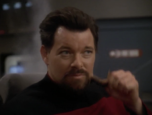In what has to be one of DS9's goofiest moments, Riker takes off parts of his beard to reveal himself as Thomas Riker. If he had showed up with slightly different facial hair, would anyone care? But if someone noticed that parts of his beard was fake, how would he explain that?