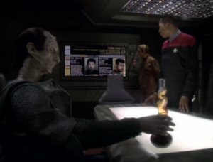 Dukat shows up and the episode automatically starts getting even better. Odo and Sisko think that Thomas Riker is working with the Maquis and Dukat explains how this could start a war with the federation