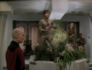 The soldier ends up breaking his friends out of jail. Picard decides they're just going to leave